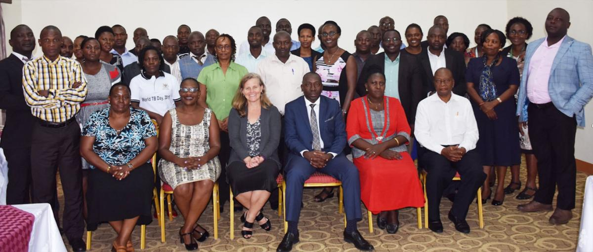 Dr. Lisa Nelson, CDC Country Director takes a group photograph with District Leaders from Mubende Region after the stakeholders meeting in Mityana during her visit to Mildmay Uganda Regional Office