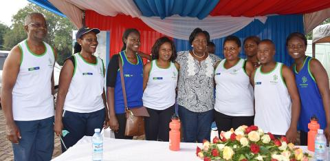 Rt. Hon. Rebecca Alitwala Kadaga, Speaker of the Parliament of Uganda interucts with the BRITAM during the 2019 Mildmay Uganda Saving Lives Marathon