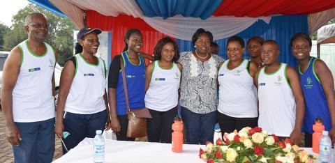 Rt. Hon. Rebecca Alitwala Kadaga, Speaker of the Parliament of Uganda interucts with the BRITAM during the 2019 Mildmay Uganda Saving Lives Marathon